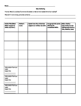 Graphic Organizer for Research for Argumentative Essay