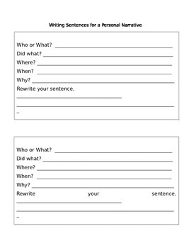 Graphic Organizer for Sentence Writing!