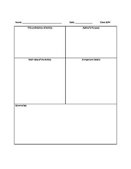 Graphic Organizer for Summaries