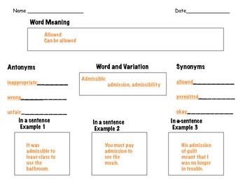 Graphic Organizer for Vocabulary