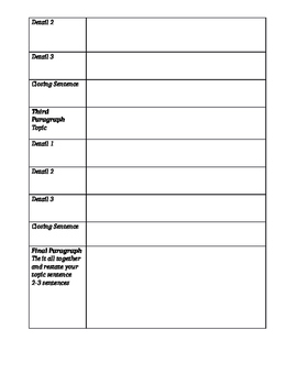 Graphic Organizer for Writing  - Personal Narrative