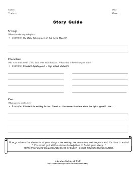 Graphic Organizer for Writing a Story - Setting, Characters, and Plot - ESL/EFL