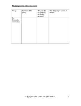 GRAPHIC ORGANIZER-Sectionalism-The Compromises to Save the Union
