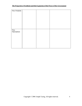 GRAPHIC ORGANIZER-The Progressive Presidents and Government Power