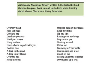 Graphic Organizer to Demonstrate Understanding of Idioms