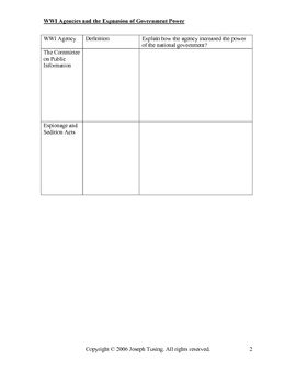 GRAPHIC ORGANIZER-World War I and the Expansion of Government Power