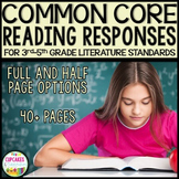 Reading Responses Aligned with 3rd-5th Grade Common Core Reading Literature