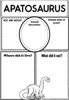 Graphic Organizers: Apatosaurus: Dinosaurs