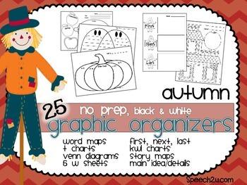 Graphic Organizers {No prep}: Autumn: KWL, T charts, Venn diagrams