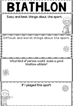 FREEBIE: Graphic Organizers: Biathlon : Winter Sports and Games, Winter Olympics