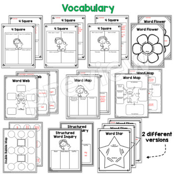 Graphic Organizers Bundle- Vocabulary, Reading Response, & Writing