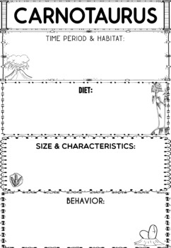 Graphic Organizers: Carnotaurus : Dinosaurs