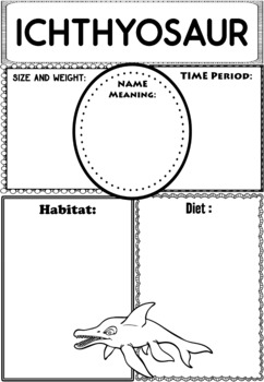 Graphic Organizers: Dinosaurs : Ichthyosaur