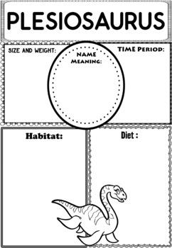 Graphic Organizers: Dinosaurs : Plesiosaurus