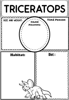 Graphic Organizers Bundle : Dinosaurs : Triceratops