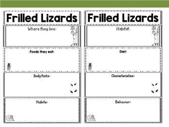 Graphic Organizers Bundle : Frilled Lizards - Animals : Australia, New Guinea