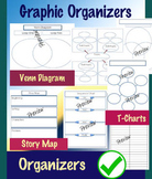 Graphic Organizers PDF 38 Pages - Venn Diagram, T-Chart, Story Map