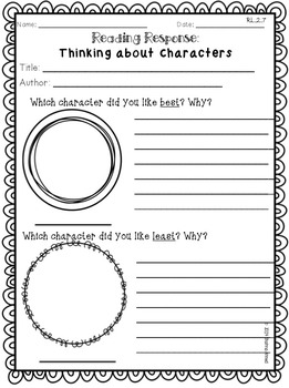 Reading Response Sheets & Graphic Organizers: C.C.S.S Aligned Grades 1-2