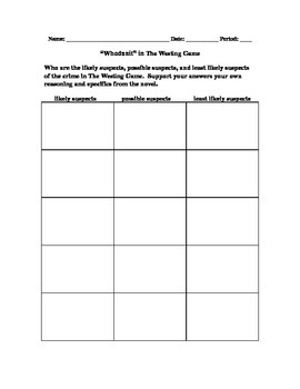 Graphic Organizers and Character Development in The Westing Game