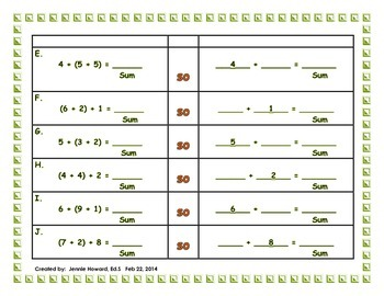 Graphic Organizers for Associative Property (Common Core Aligned)