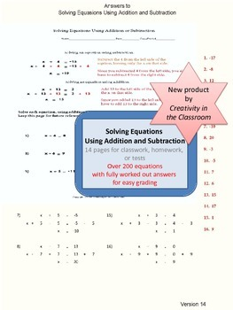Solving Equations Using Addition or Subtraction