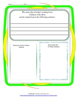 Graphic Organizers for Children of the River