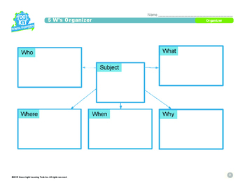 Graphic Organizers for Grades 3–5: 5 W's Organizer
