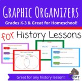 Graphic Organizers for History Lessons Grades K-3 & Homeschool; Printable