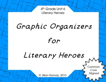 Graphic Organizers for Literary Heroes Grade 4 Common Core Unit 6