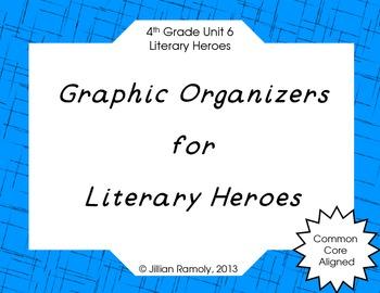 Graphic Organizers for Literary Heroes Grade 4 Common Core Unit 6