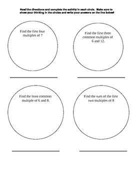Graphic Organizers for Prime, Composite, Odd, and Even Numbers