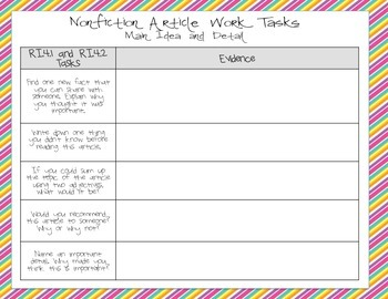 Graphic Organizers for Reading Nonfiction aligned with fourth grade Common Core