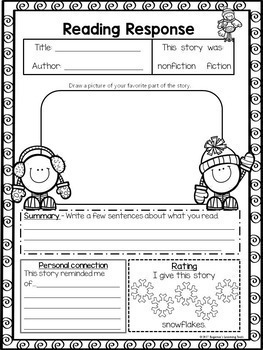 Graphic Organizer Pack for Reading, Winter Season