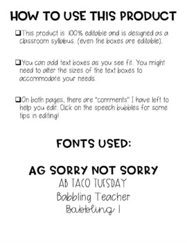 Graphic Syllabus Template EDITABLE