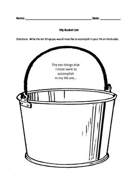 Graphic organizer - bucket list