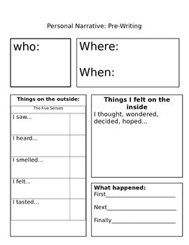 Graphic organizer for personal narrative writing