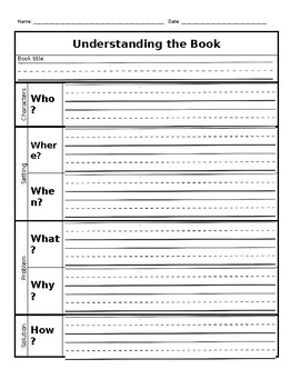 Graphic organizer for who, what, when, where, why, how and story elements