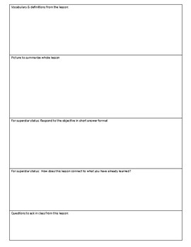 Graphic organizer / template to teach note-taking in social studies classes