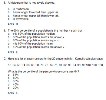 Graphical Displays and Foundations of Statistics Review (Examview)