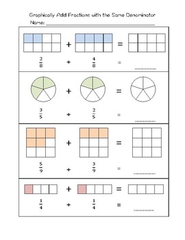 Graphically Add Fractions with the Same Denominator