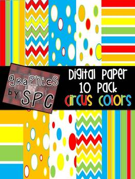 Circus Theme Digital Paper {Graphics by SPC}