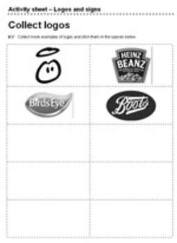 Graphics worksheet logo collect and stick activity task
