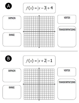 Graphing Absolute Value Equations Flip Book