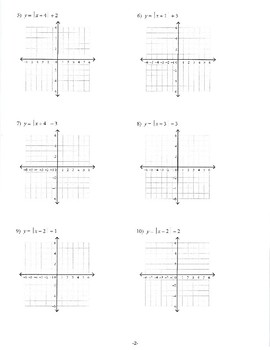 Graphing Absolute Value Functions Practice/Review
