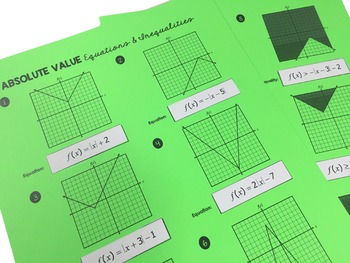 Graphing Absolute Value Equations and Inequalities - Cut and Paste Activity