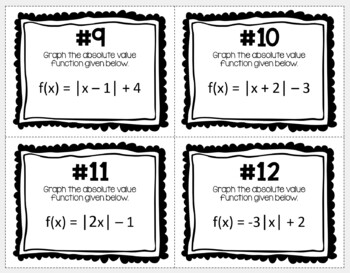 Graphing Absolute Value Functions (Task Cards)