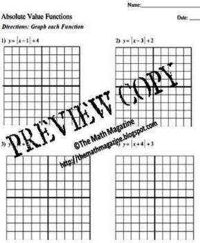 Graphing Absolute Value Functions Worksheet with Key