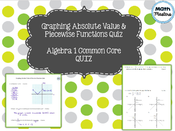 Graphing Absolute Value & Piecewise Functions Quiz
