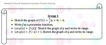 Graphing Absolute Values & Writing Piecewise Functions Practice Activity