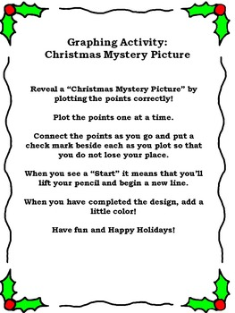 Graphing Activity: Christmas Mystery Picture (Grade 5-6)